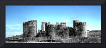 Caerphilly Castle Monochrome With Blue Sky