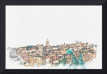 Jerusalem, Israel watercolor by Ahmet Asar