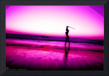 Woman Silhouette in Pink Sunset with Sword