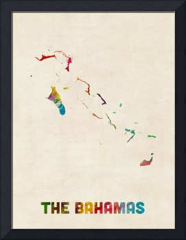 The Bahamas Watercolor Map