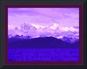 Alaskan Mtns Near Valdez Arm Enhanced with violet
