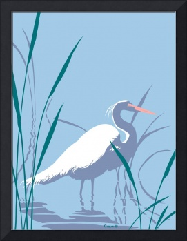 abstract Egret graphic retro pop art