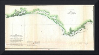 Vintage Florida Panhandle Coastal Map (1852)