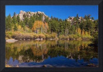 Cool Calm Rocky Mountains Autumn Reflections