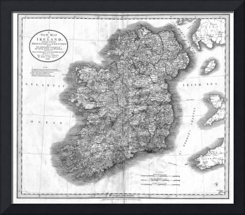 Vintage Map of Ireland (1799) BW