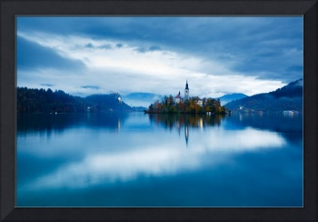 Autumn dusk at Lake Bled