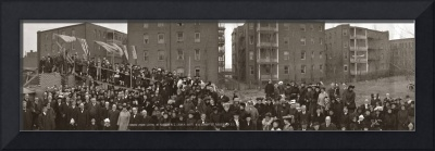 Crowd at a cornerstone laying ceremony