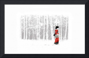 Geisha With A Basket Of Geese In A Birch Forest