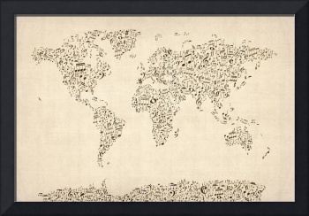 Music Notes Map of the World Map