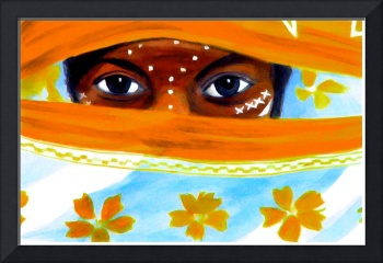 Eye catching - girl with orange flowerd veil