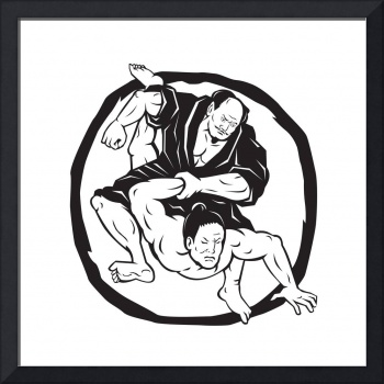 Samurai Jiu Jitsu Judo Fighting Drawing