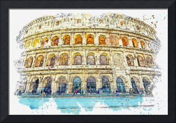 Colussium, Italy watercolor by Ahmet Asar