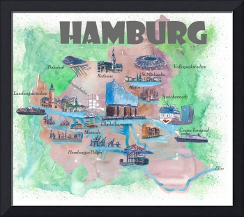 Hamburg Fine Art Print Retro Vintage Map