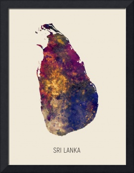 Sri Lanka Watercolor Map