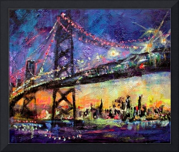 City Night & Bridge From Original Painting by Gine