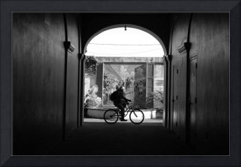the cyclist (black and white)