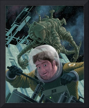 construction astronaut  menaced by space monster
