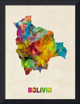 Bolivia Watercolor Map