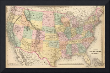 Vinage Map of The United States (1873)