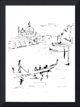 Canale Grande Venice  Italy Ink Drawing