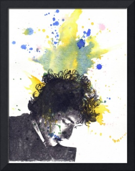 Portrait of Bob Dylan in a splash of color