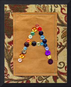 Letter A with Vintage Buttons and Brown Paper Bag