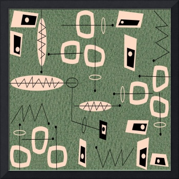 Mid-Century Modern Abstract Green