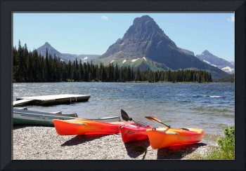 Kayaks at Lower Two Medicine Lake