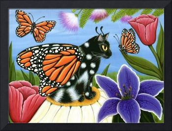 Monarch Butterfly Fairy Cat ; Spring Flowers