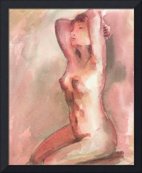 Red Female Nude Figure Study