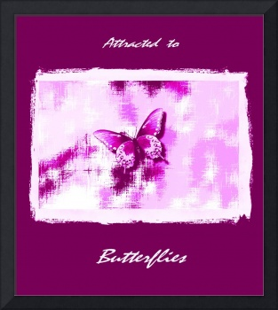Violet Butterfly On Violet White Abstract with Fra