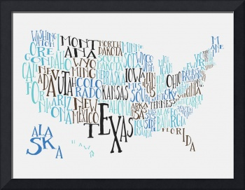 Turquoise Noise US Typography Map