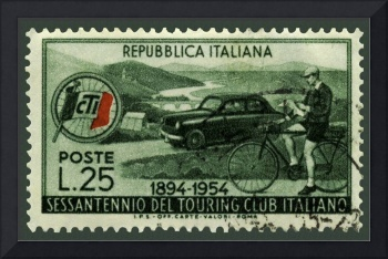 Cycling And Driving Italian Touring Club Stamp
