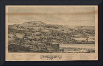 1896 Blue Hill, ME Bird's Eye View Panoramic Map