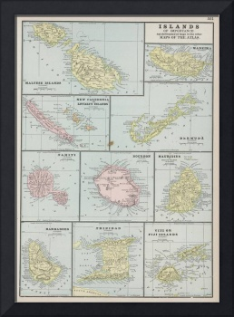 Vintage Map of Various Tropical Islands (1901)