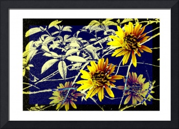 Poster from chrysanthemums and leaves