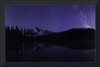 Milky Way rises by Mount Shuksan at Picture Lake