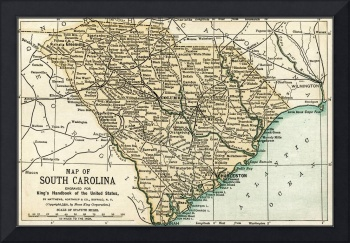 South Carolina Antique Map 1891