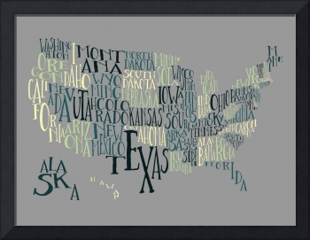 First Base Yellow US Typography Map