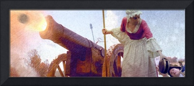Colonial woman firing cannon