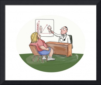 Obese Woman Patient Doctor Caricature