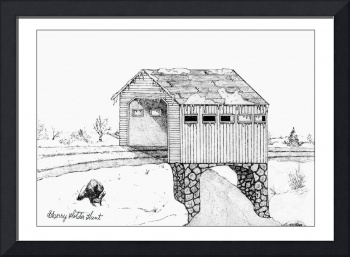 Covered Bridge pen-ink