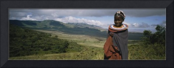 Portrait of a masai girl smiling
