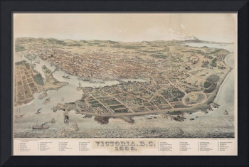 VVintage Pictorial Map of Victoria BC (1889)