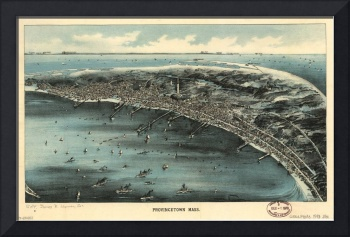 1910 Provincetown, MA Birds Eye View Panoramic Map