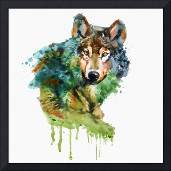 Wolf Face Watercolor