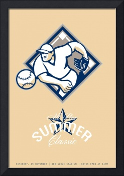 Baseball All Star Summer Classic Retro Poster