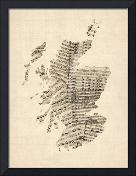 Old Sheet Music Map of Scotland