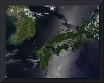 North and South Korea and the Japanese island of S