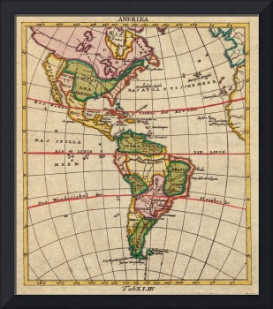 Vintage Map of North & South America (1899)